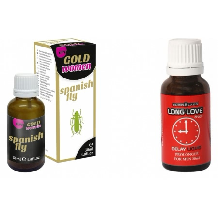 Pachet Picaturi Ejaculare Precoce Long Love 20ml + Afrodisiac Spanish Fly Strong Gold Women 30ml